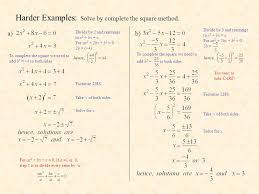 harder examples solve by complete the square method