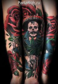 Illustrative Style Colored Arm Tattoo Of Mexican Musician With Hat