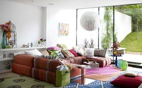 amusing colorful small living room with sectional sofa completed by hodgepodge cushions and furnished with nightstands plus big ball pendant lamp big furniture small living room