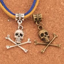 <b>Pirate Skull Halloween</b> Charm Beads 20PCS <b>Antique</b> Silver/Bronze ...