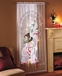 decorative led lighted christmas snowman lace window sheer curtain