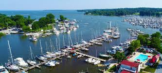 an aerial view of shipwright harbor marina in deale md on herring bay