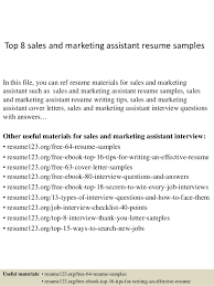 Top 8 sales and marketing assistant resume samples In this file, you can  ref resume ...