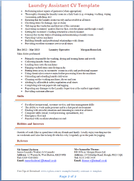 Laundry Assistant Cv Template + Tips And Download – Cv Plaza