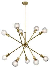 kichler dining room lighting armstrong. Kichler 43119 Armstrong 10-Light Large Chandelier, Natural Brass Dining Room Lighting R