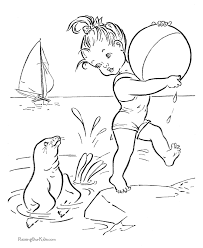 Small Picture Beach Coloring Pages Beach Scene Coloring Page Free Printable