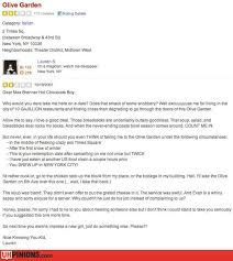 uhpinions funny reviews from yelp etc real ridiculous reviews the olive garden
