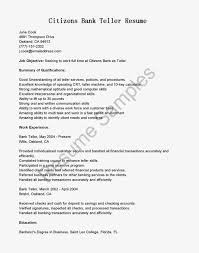 Wonderful Resume Sample For Bank Teller Job Position With Listed