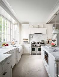 carrara marble was used for the counters and the backsplash above the wolf range in fashion
