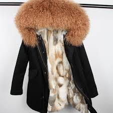 maomaokong women winter coat thick real rabbit fur lined jacket lamb fur collar parka fashion warm