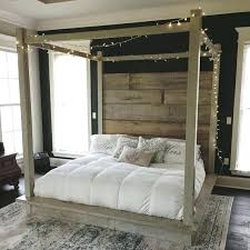 Wooden Twin Canopy Bed Wood White Cottage Bedroom With Blond Carved ...