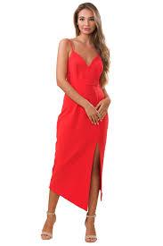 Rent Shona Joy Red Crete Lace Up Cocktail Midi Dress The Mode