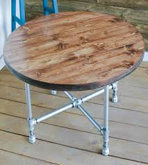 reclaimed wood round coffee table with pipe legs home