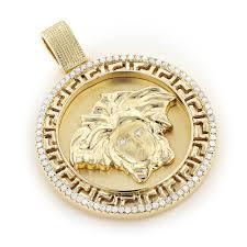 10k gold versace style diamond pendant medusa medallion 0 61ct 10k gold versace