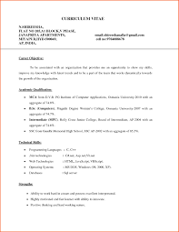Resume Format For Mca Freshers It Resume Cover Letter Sample