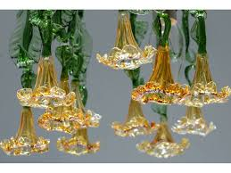 handmade glass chandelier with amber flowers