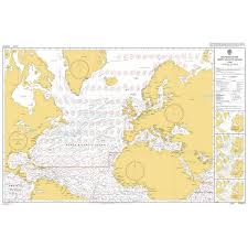 North Atlantic Weather Charts Admiralty Chart 5124 6 Routeing Chart North Atlantic Ocean June