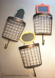 Wall Coat Rack With Baskets Cool DIY Wire Basket Coat Rack Chaotically Creative