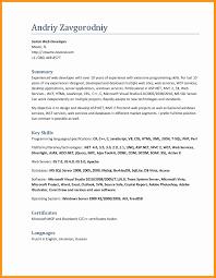 Asp Net Sample Resume Luxury Excel Developer Cover Letter