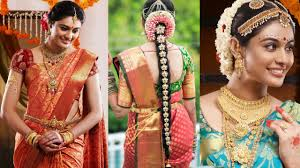 south indian bridal saree d with bridal makeup bridal hairstyle step by step marriage makeup you
