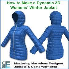 md119 marvelous designer jacket work padded winter coat with a hood