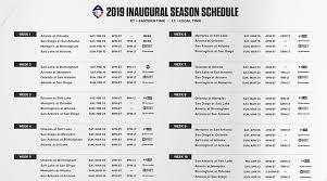 Aaf Football 2019 Season Schedule For Alliance Of American Football