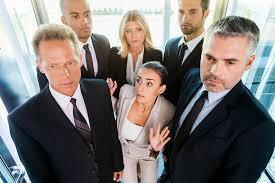 people inside elevator. tight elevator people inside o