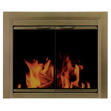 pleasant hearth cahill large glass fireplace doors