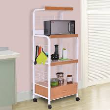 Costway 62\u0027\u0027 Bakers Rack Microwave Stand Rolling Kitchen Storage Cart w/Electric Outlet Costway: