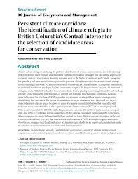 pdf persistent climate corridors the identification of climate refugia in british columbia s central interior for the selection of candidate areas for