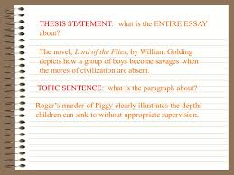 topic sentence what is the paragraph about roger s murder of  roger s murder of piggy clearly illustrates the depths children can sink to out appropriate supervision thesis statement what is the entire essay