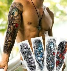 Dočasné Tetování Na Celou Ruku Samuraj Voják A Květ