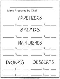 Make A Menu For A Restaurant Create Your Own Restaurant Menu Math Activity