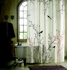 Decorative Windows For Bathrooms Oriental Bird And Branch Patterned Shower Curtains Sets For
