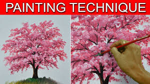how to paint a cherry tree in basic step by step easy acrylic painting tutorial by jm lisondra