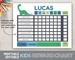 Boy Reward Chart Printable Editable Fillable Pdf 8 5x11 Dinosaur Chore Chart Dinosaur Reward Chart Dinosaur Routine Chart Printable