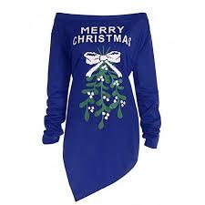 Franterd Merry Christmas Womens Christmas Tree Print Off Shoulder Sexy Long Shirt Party Irregular Hem Mini Dress