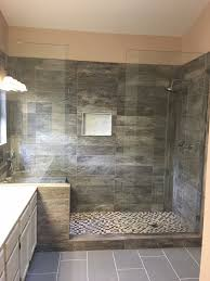 Large Shower Design Ideas Large Tile Shower With Double Shower Heads And Bench Seat