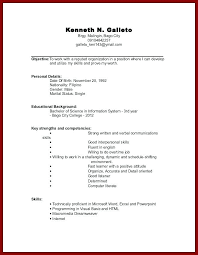 Resume Examples For Students With No Work Experience Sample Resume
