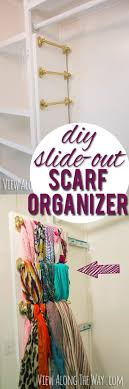 diy slide out scarf belt and tie organizer in a bedroom closet