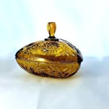 glass candy dish with lid lidded amber cut vintage triangle milk