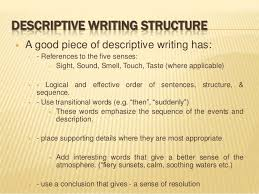 bmc english language composition n level  descriptive writing structure