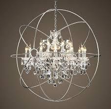 unique crystal orb chandelier polished nickel large satin crystal orb chandelier