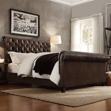 upholstered leather sleigh bed. Upholstered Leather Sleigh Bed -