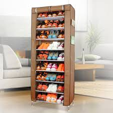 Saving Small Wardrobe Spaces With 9 Tiers Shoe Rack With Brown ...