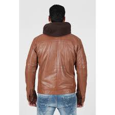 men s brown removable hood and bib real leather jacket