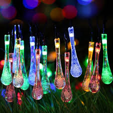 outdoor string lights solar powered 30 led water drop 20ft patio garden parties