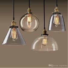 new vintage clear glass pendant light copper hanging lamps e27 110 220v light bulbs for home decor restaurant luminarias abajour chandelier hanging lamps
