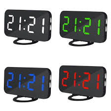 details about uk mirror hd led display digital alarm clock with dual usb port 6 5