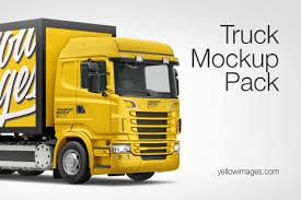 Truck Hq Mockup Pack In Handpicked Sets Of Vehicles On Yellow Images Creative Store